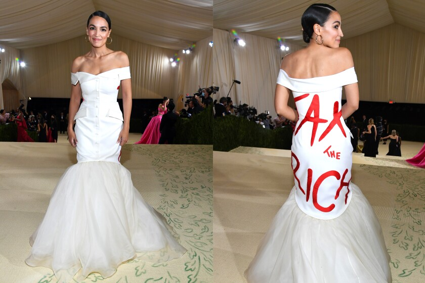 """A split image of a woman in a white dress with """"Tax the Rich"""" written on the back in red letters"""
