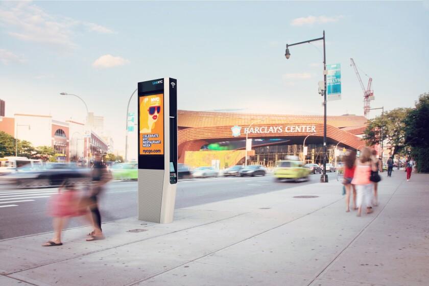 An artist's rendering of a LinkNYC kiosk on a street in Brooklyn.