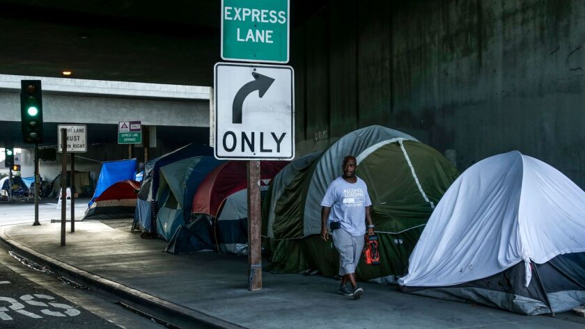 LOS ANGELES, CA, NOVEMBER 12, 2016: A homeless encampment on 39th Street underneath Freeway 110 in