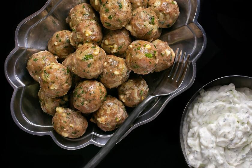 Greek-inspired turkey meatballs served with tzatziki.