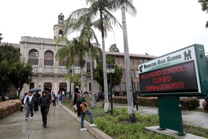 Students leave Hamilton High School