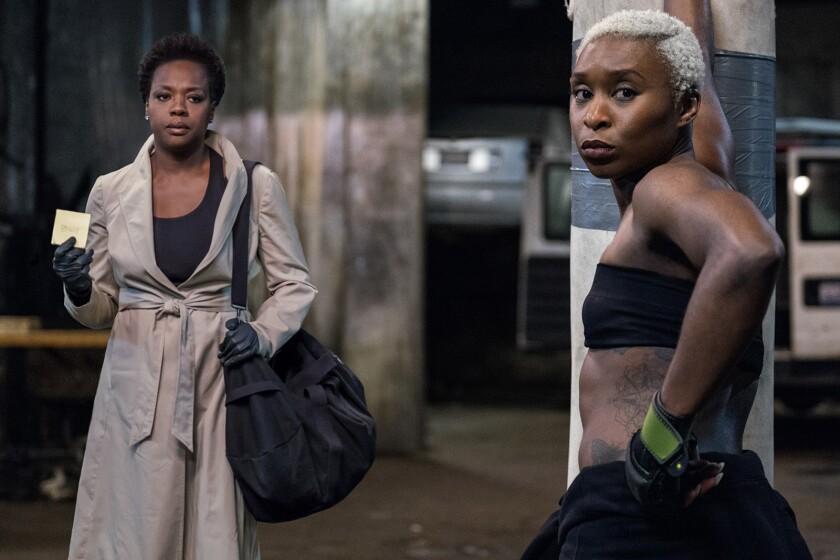 "Viola Davis, left, and Cynthia Erivo costar in the new crime drama ""Widows."""