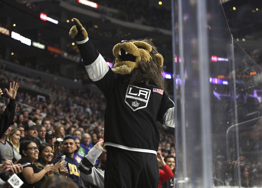 Kings mascot Bailey entertains the crowd during a preseason game against the Ducks on Sept. 30, 2017, at Staples Center.