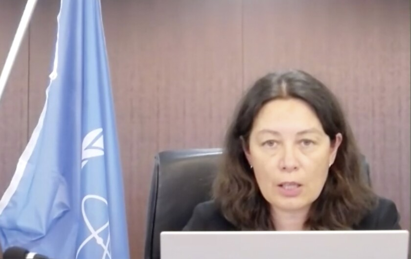 In this image made from video, head of the International Atomic Energy Agency Lydie Evrad, speaks to media via video conference concerning the Fukushima Daiichi nuclear power plant, damaged in the massive earthquake and tsunami in 2011, Thursday, Sept. 9, 2021. The three-member team led by Evrard, is in Japan for a five-day visit for a preliminary talks and visit to the nuclear power plant to prepare for the IAEA's multi-year monitoring and review of the planned water discharge, which is expected to take decades. (Foreign Press Center Japan via AP)