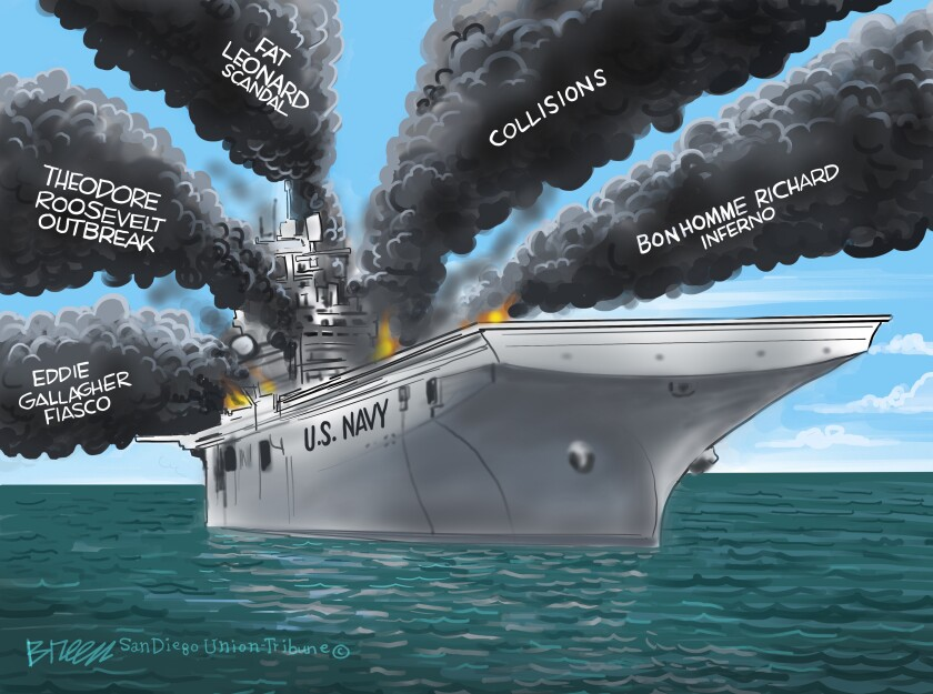 "Multiple smoke plumes pour from a ship labeled ""U.S. Navy"" each representing a recent headache for the Navy in this cartoon"