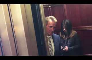 Jeff Flake confronted by two women in an elevator