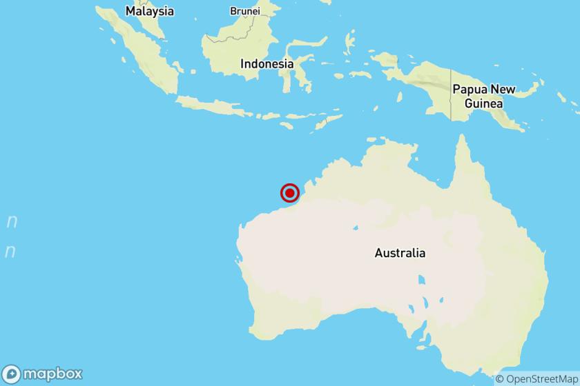 The location of the epicenter of Saturday night's quake off the northwest coast of Australia.