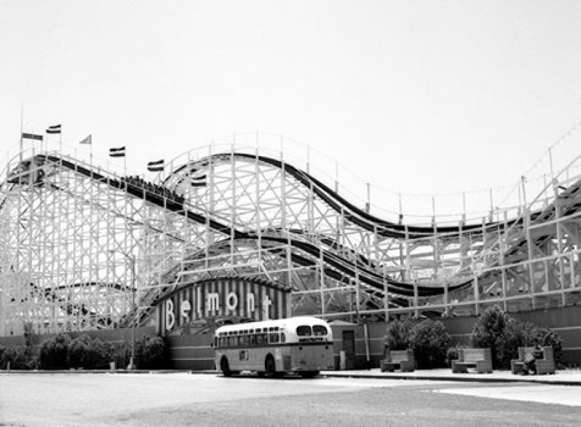An undated photo of The Giant Dipper roller coaster at Belmont Park in Mission Beach.