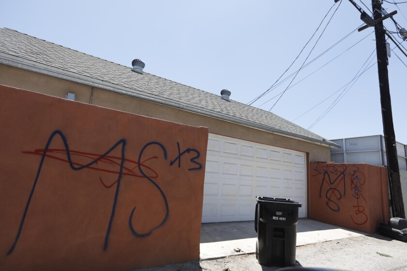 MS-13 graffiti in a North Hollywood alleyway