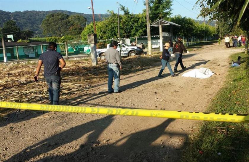 Un grupo de peritos ministeriales inspeccionan el sitio donde una persona fue asesinada ayer, lunes 4 de diciembre de 2017, en el poblado de Cacahuatlan, en Amatlan de los Reyes, Veracruz (México). EFE/ARCHIVO