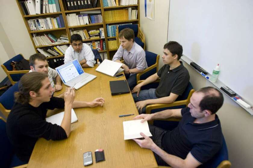 Keith Rabois, far right, in 2008, interviewing entrepreneurs as an Internet investor.