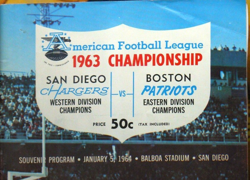 Poster for the Chargers 1963 AFL Championship Game against the Boston Patriots at Balboa Stadium.