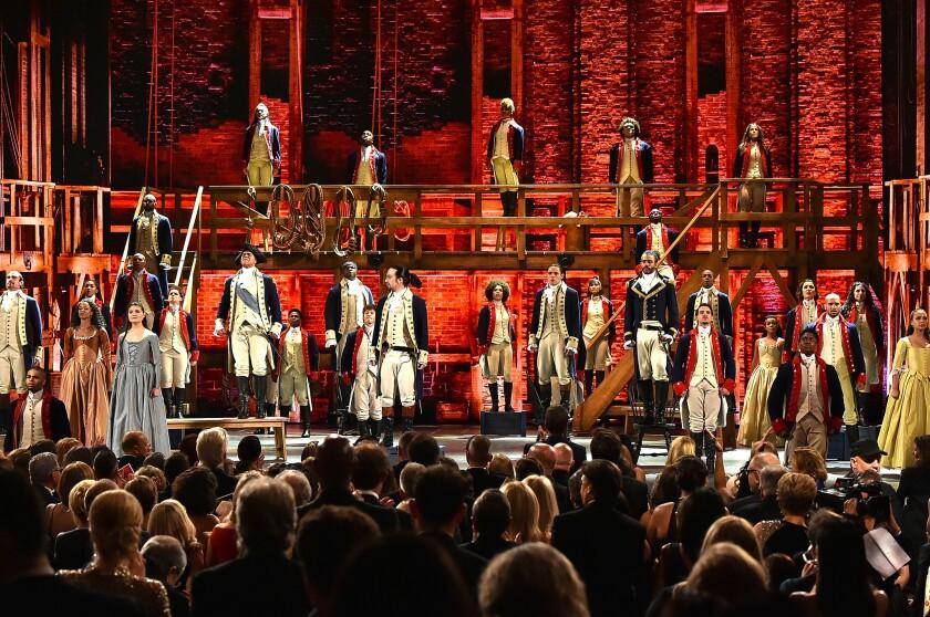 """The cast of """"Hamilton"""" at the Tony Awards in 2016."""