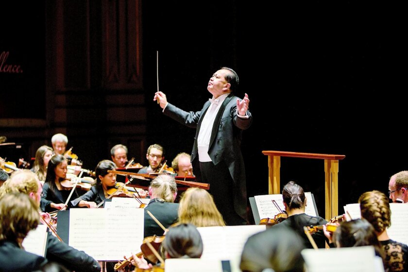 Music director Jahja Ling conducts the San Diego Symphony on stage at the Jacobs Music Center, Copley Symphony Hall. Photo by David Hartig