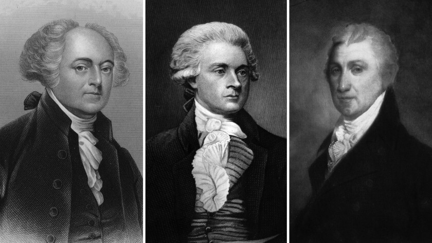 Three of the first five presidents died on July 4. From left, John Adams, Thomas Jefferson and James