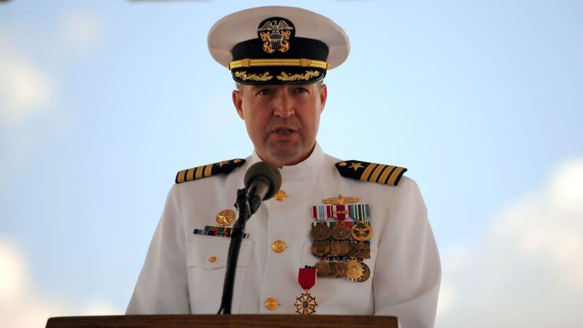 Commander, Destroyer Squadron One Capt. John Steinberger makes farewell remarks relinquishes during