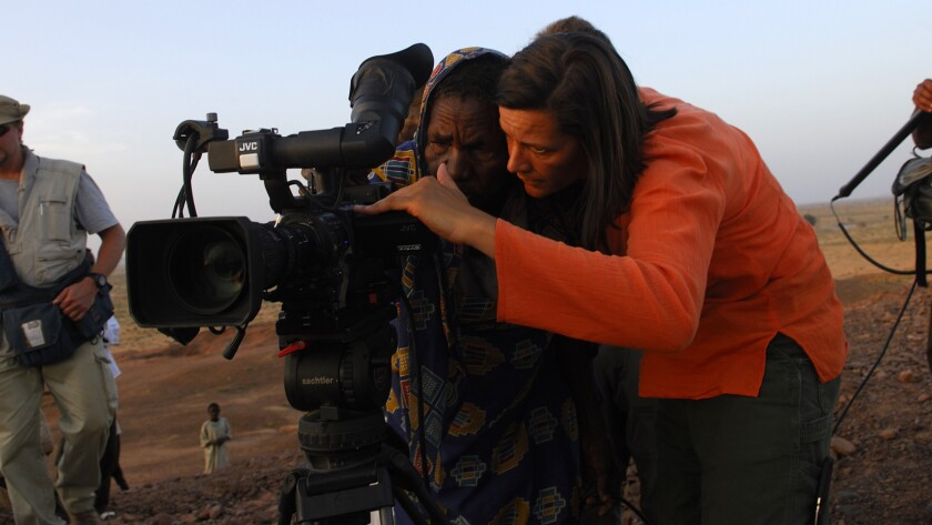 "Cinematographer Kirsten Johnson in the documentary ""Cameraperson."""