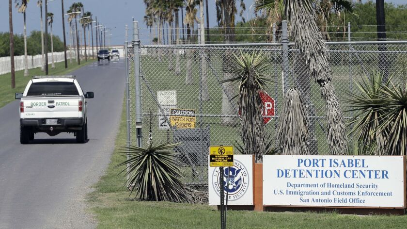 A U.S. Border Patrol truck enters the Port Isabel Detention Center, which holds detainees of the U.S. Immigration and Customs Enforcement in Los Fresnos, Texas.
