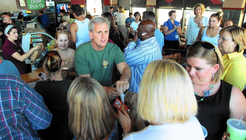 House Majority Leader Kevin McCarthy meets with constituents at the Sequoia Sandwich Company in Bakersfield on June 27, 2014.