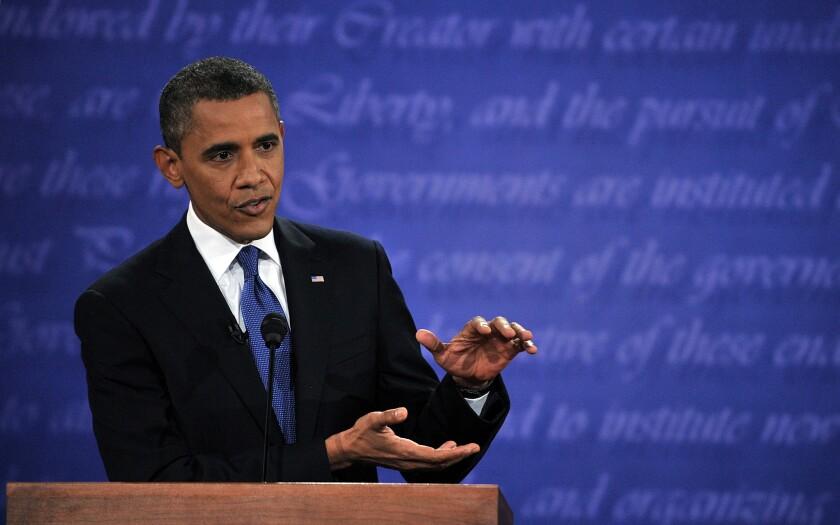 President Obama speaks during his debate with Mitt Romney at the University of Denver.