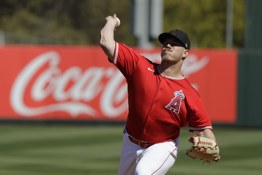 Angels pitcher Dylan Bundy delivers during an exhibition game against the Cincinnati Reds on Feb. 25.