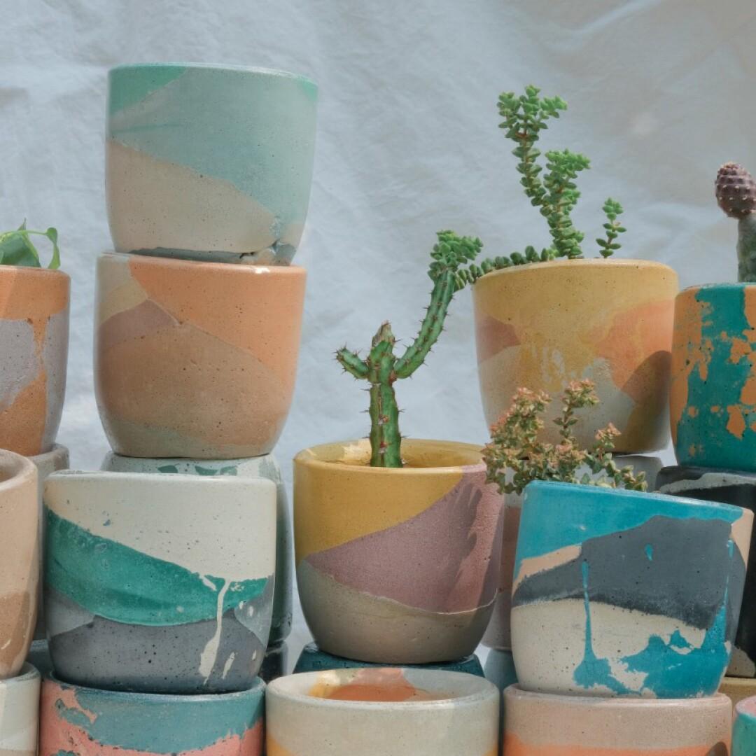 Krizia Flores' colorful concrete planters and votives