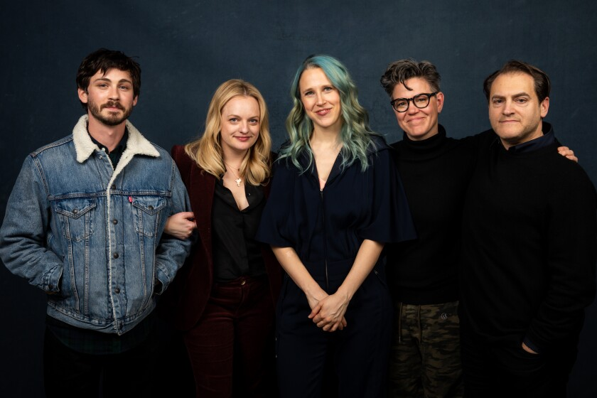 "Logan Lerman, Elisabeth Moss, director Josephine Decker, writer Sarah Gubbins and Michael Stuhlbarg of ""Shirley."""