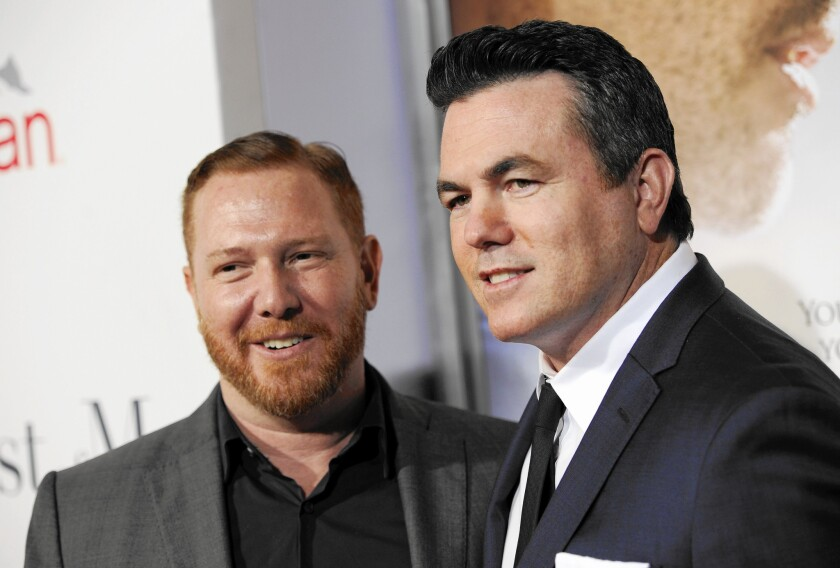 """Ryan Kavanaugh, left, founder and CEO of Relativity Media, attends the premiere last year of """"The Best of Me"""" with company President Tucker Tooley."""