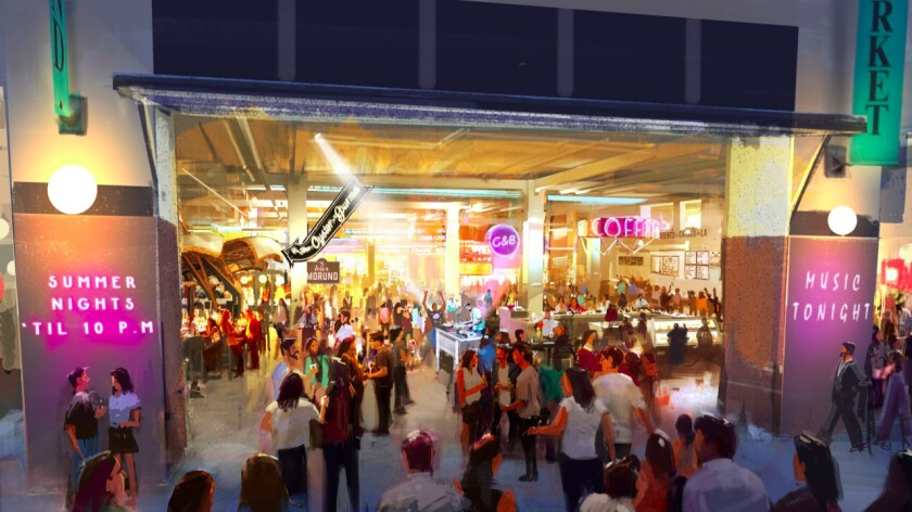 This illustration shows downtown Los Angeles' Grand Central Market open late during the summer.