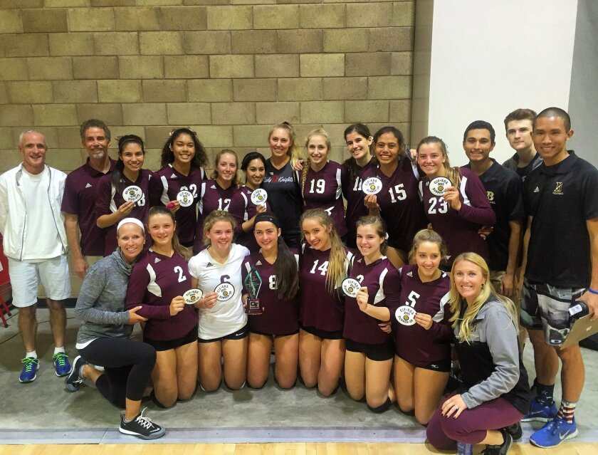 The Bishop's School's girls volleyball team ended its season as the runner-up in its quest for a San Diego Section Division I championship. The team, pictured showcasing its trophy and team patches, advanced past three teams in the playoffs to reach the finals, where it fell by a score of 3-1 again