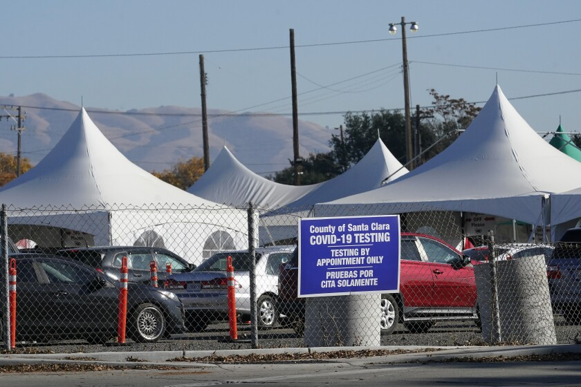 A coronavirus testing site in Santa Clara County
