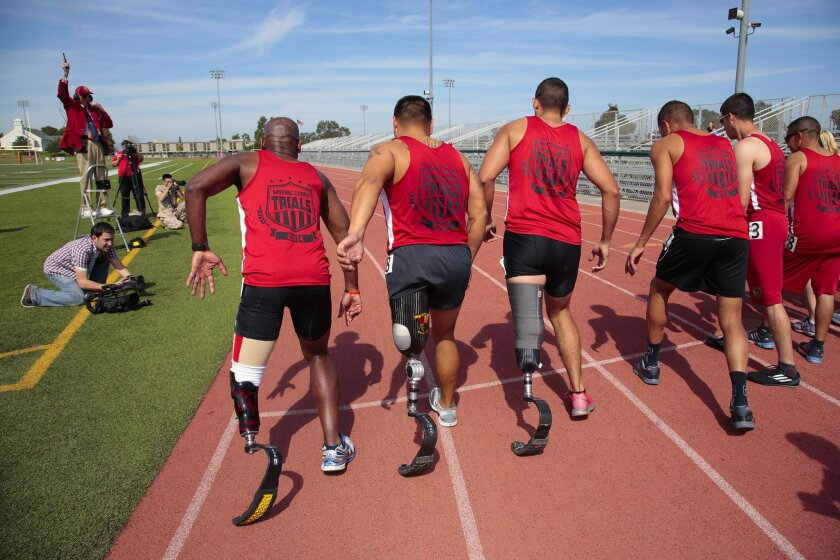 The start line for the 1500 meter race at the Marine Corps Trials held at Camp Pendleton. Nelvin Cepeda U-T San Diego