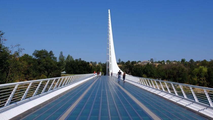 The Sundial Bridge in Redding. Coronavirus outbreaks have hit nursing homes in that city and also Santa Cruz County.