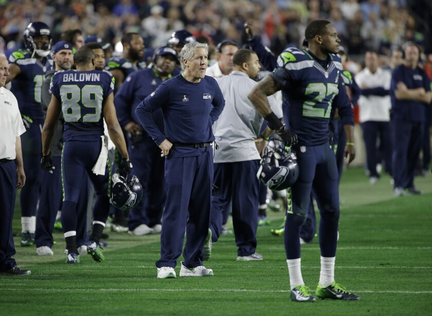 A Super Bowl pass is picked off and Pete Carroll quickly is