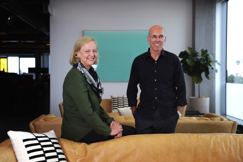 Quibi CEO Meg Whitman and Chairman Jeffrey Katzenberg inside the company's Hollywood office.