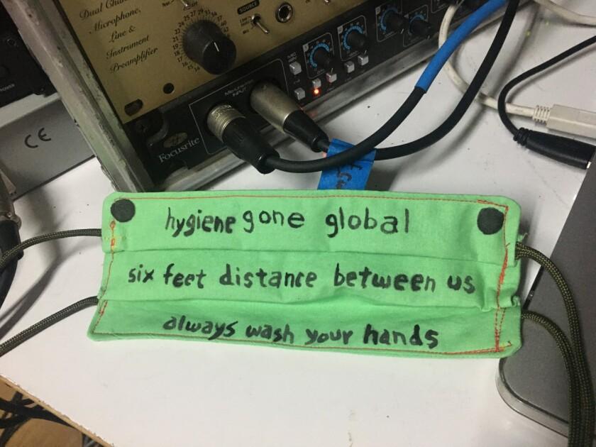 "A coronavirus-inspired haiku provided by sound artist Alan Nakagawa reads: ""Hygiene gone global. Six feet distance between us. Always wash your hands."""