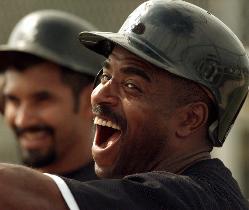 FILE - In this Feb. 20, 1996, file photo, Chicago White Sox outfielder Tony Phillips is all smiles during the first day of full-squad workouts at the team's spring training facility in Sarasota, Fla. Tony Phillips, an infielder and outfielder who made the final defensive play in the Oakland Athleti