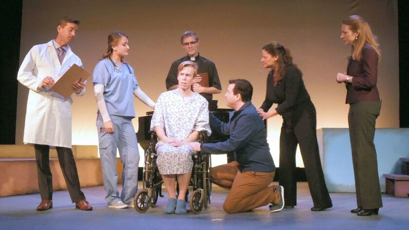 """Actors Mark Phillips, Noelle Carney, Stephen Hulsey, Griffin Runnels, Eric T. Anderson, Adriana Sanchez and Allison McGuire perform in Costa Mesa Playhouse's """"A New Brain."""""""