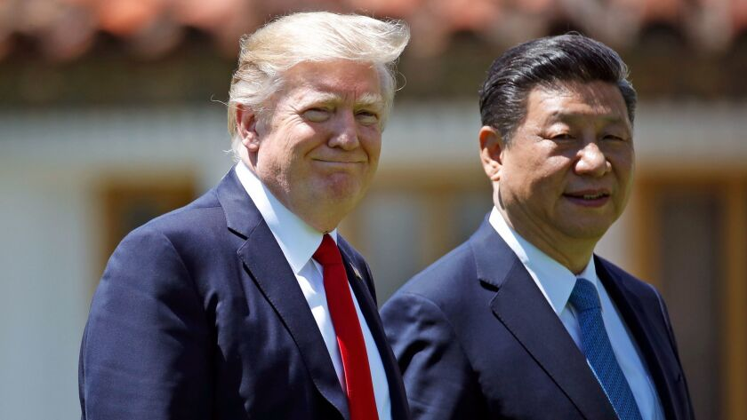 Donald Trump and President Xi Jinping in Florida in 2017