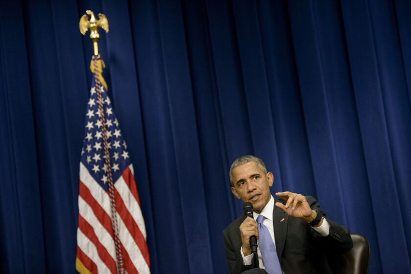 President Obama speaks during an event about criminal justice reform in Washington on Thursday.