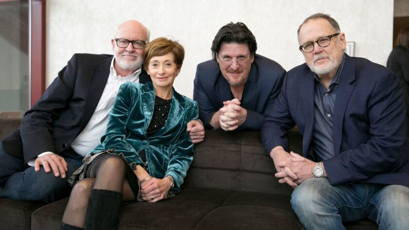 """After Frank Oz's """"Muppet Guys Talking"""" premiered at the SXSW Film Festival, the documentary's core team gathered. From left, Frank Oz, Fran Brill, Bill Barretta and Dave Goelz."""