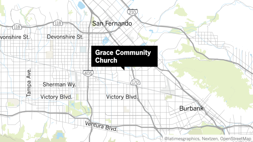 A map shows the location of Grace Community Church in the San Fernando Valley.