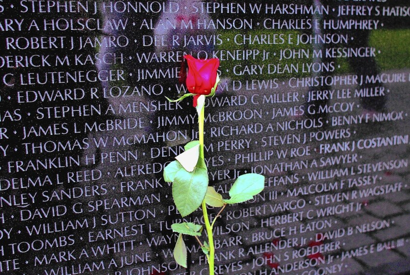 A portion of the Vietnam Veterans Memorial in Washington.