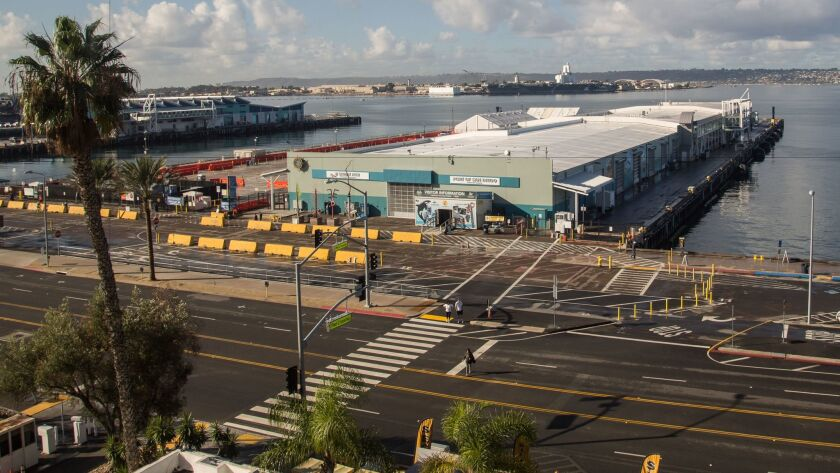 B Street Pier is the location of the cruise ship terminal, a former warehouse.