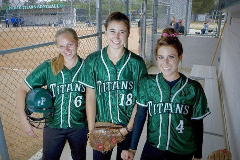 Poway High School softball pitchers (from left) Ariel Craig, Rebecca Trott and Gabrielle Sciuto often pitch in the same game. The Titans have a No. 1 ranking in the San Diego Section.