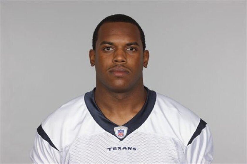 FILE -- This is a 2009 file photo showing Houston Texans football player Anthony Hill. Texans rookie tight end Anthony Hill was hospitalized this week with swine flu in what may be the first confirmed case in an NFL player this season. Hill is the only player on the team believed to have swine flu and other players are being monitored, Texans vice president of communications Tony Wyllie said Friday, Oct. 2, 2009. (AP Photo/File)