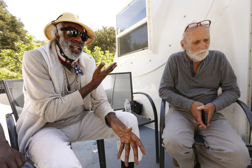 CHATSWORTH, CA ‰ÛÒ APRIL 24, 2018: Wayne Fishback, right, talks with homeless activist Ted Hayes, l