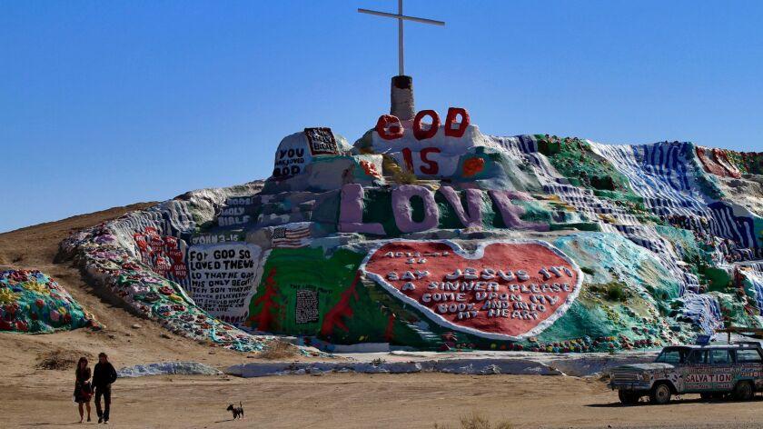 Leonard Knight's Salvation Mountain near the Salton Sea, photographed in 2012.