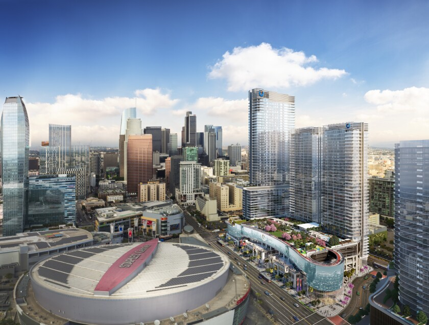 A rendering shows Oceanwide Plaza, a $1-billion hotel, condo and retail project across from Staples Center in downtown Los Angeles.