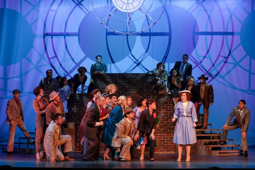 "Ashley Ruth Jones (right) and the company of San Diego Musical Theatre's ""42nd Street."""